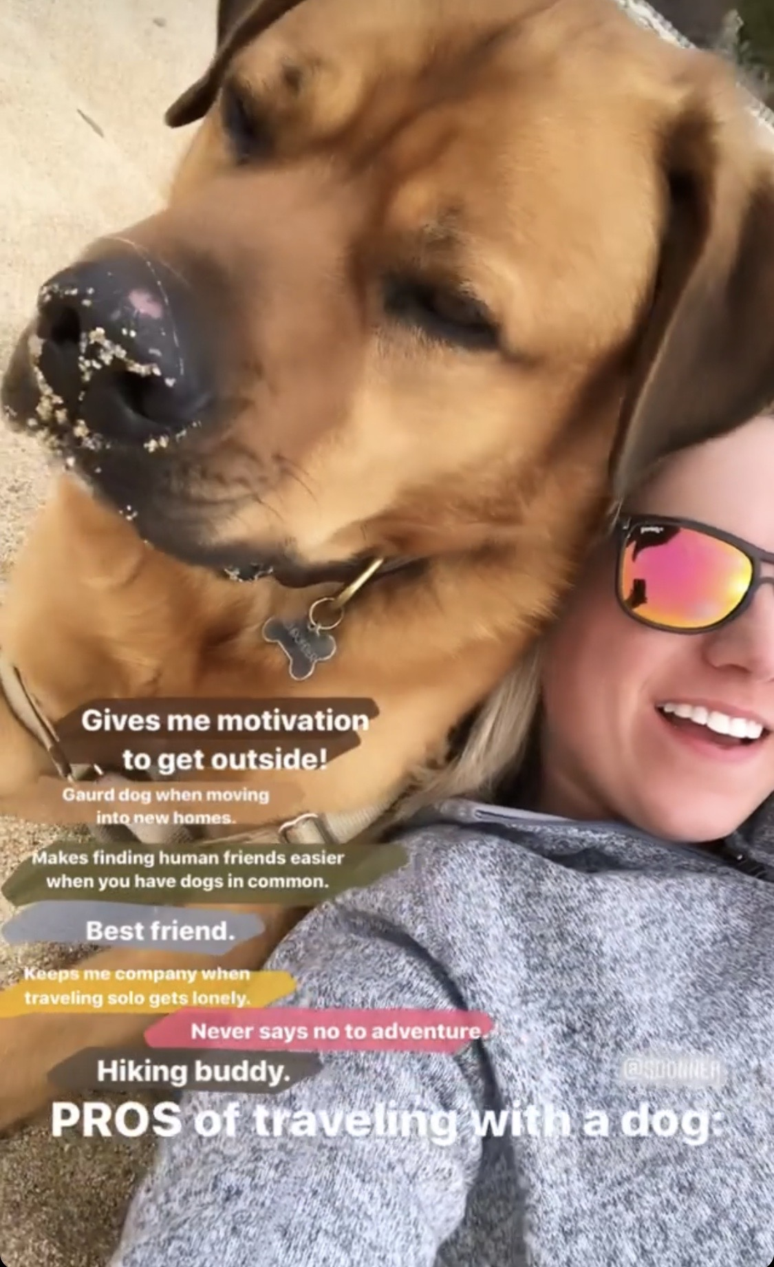 Travel Nurse She;lby and her dog taking a selfie on the beach