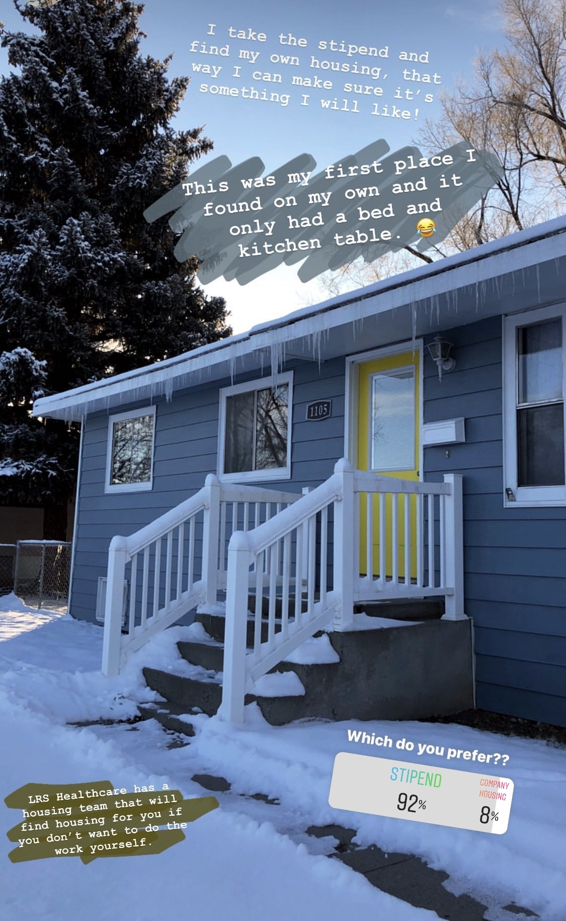 Travel Nurse Shelby's first home on assignment—blue house with a yellow door.